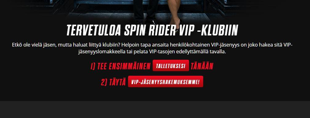spin rider casinon vip ohjelma