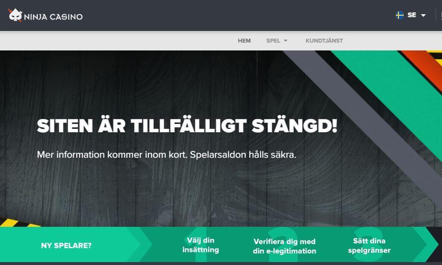 Ninja Casino Ruotsi suljettu