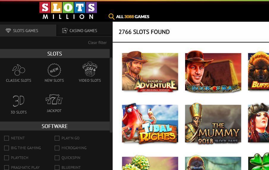 slots million casino pelivalikoima