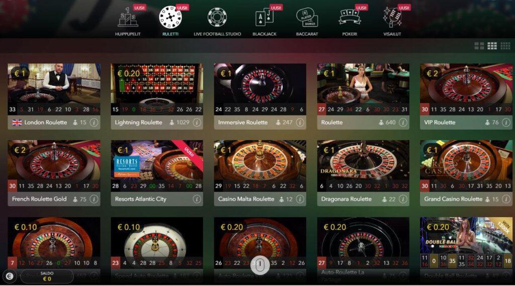 suomikasino.comin live casino ruletti