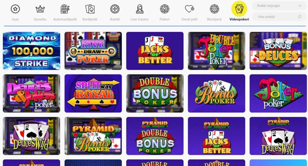 Light Casino videopokeri valikoima