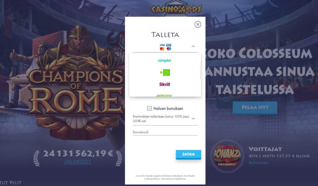 casino gods bonus ja rekisteröityminen