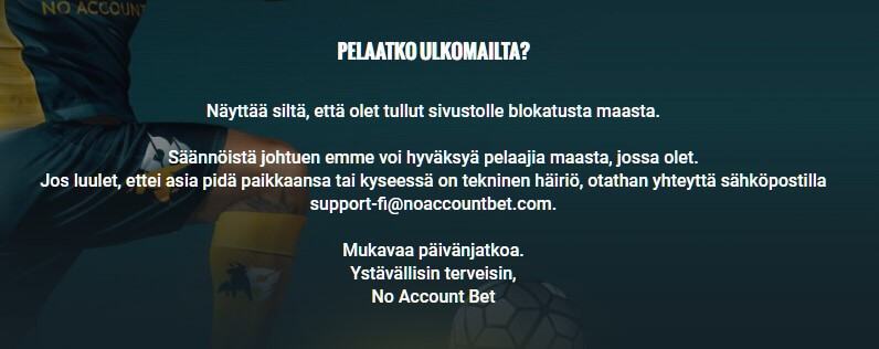 no account bet suomi