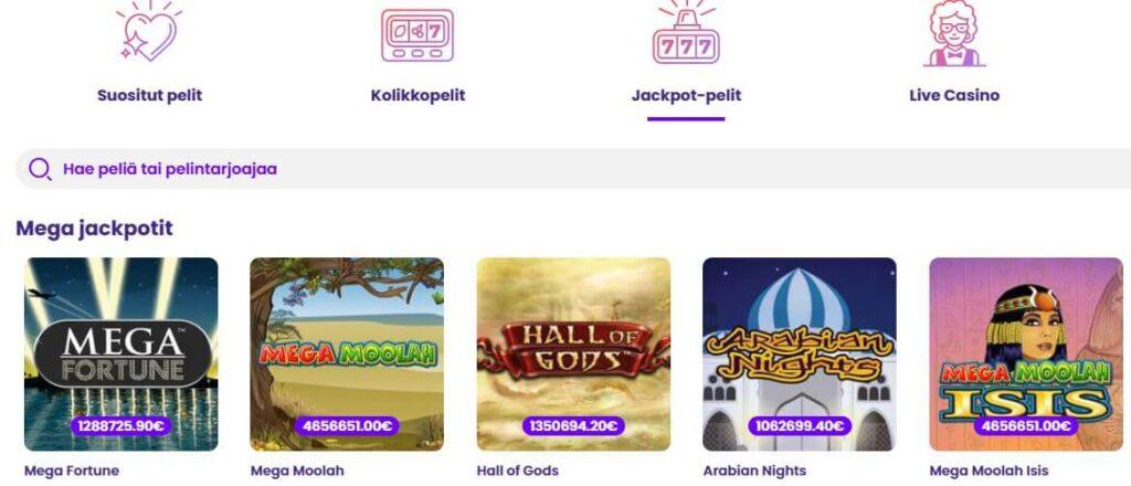 suurin kolikkopeli jackpot wildz kasinon peleissä