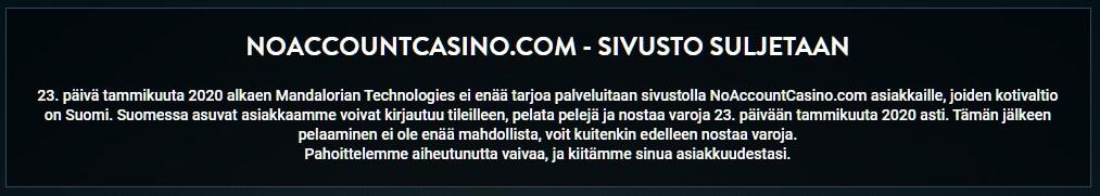 no account casino suomi suljettu